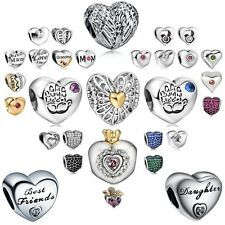 925 sterling silver Heart charms bead For PAN charm bracelet necklace beads
