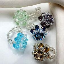 Hand Knitted Cocktail Finger Ring Multicolor Flower Crystal Glass Bead Fashion