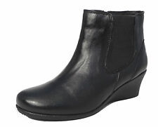 Womens Ladies Leather Wedge Heel Chelsea Ankle Boots Black Size 4 5 6 7 8 9