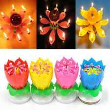 Romantic Fun Musical Lotus Flower Rotating Happy Birthday Party Candle Lights TR