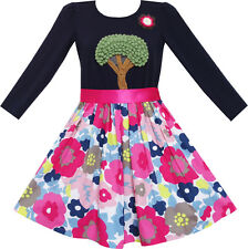 Sunny Fashion Girls Dress Knitting Tree Floral Pattern Long Sleeve Age 7-14