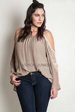 MOCHA TAUPE OPEN SHOULDER CROCHET TUNIC Off Top Long Sleeve XL 1X 2X PLUS SIZE