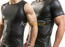 Men's Muscle Undershirt Tank Top Vest Shirt Faux Leather Waistcoats GYM  Black