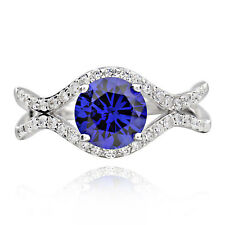 Sterling Silver Round Created Blue Sapphire and Cubic Zirconia Ring (China)