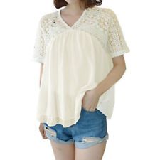 Women V Neck Crochet Semi Sheer Layered Loose Blouse