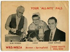 Vintage WBZ & WBZA Radio Ad Postcard: SLIM PICKENS, LIZZIE, JERRY HOWARD