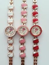 Women Lady Girl Hello Kitty Stainless steel Wrist Watch Chain Charm Gift her