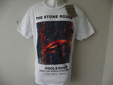 *NEW* AMPLIFIED THE STONE ROSES FOOLS GOLD SLEEVE ART WHITE MENS T SHIRT SIZE XL