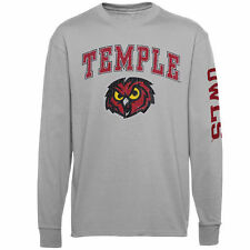 Temple Owls Youth Distressed Arch & Logo Long Sleeve T-Shirt - Gray - NCAA