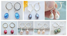 D0059 8x10MM RICE FRESHWATER PEARL DANGLE EARRING