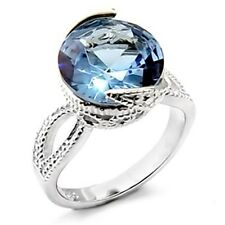 Silver Topaz Cocktail Ring Round Montana Blue Cubic Zirconia Size 8 9