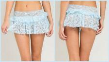 BLUE LACE RUFFLE GARTER SKIRT BELT SEXY PINUP FORPLAY HOLLYWOOD SMALL MED LARGE