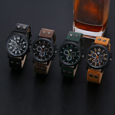Vintage Classic Men Watch Date Army Waterproof Sport Leather Analog Quartz Watch