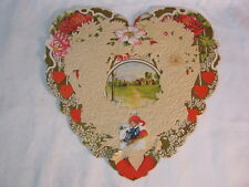Vtg. Heart Shaped Lace Paper Country Scene Valentine Card Antique  T*