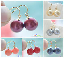 D0084 12mm ROUND SOUTH SEA SHELL PEARL DANGLE EARRING