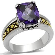 Amethyst Purple Stones Two Tone White Gold EP Ladies Celtic Style Ring