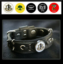 Leather Bracelet with Israeli Army Insignia Mossad, Paratroopers Brigade, Golani