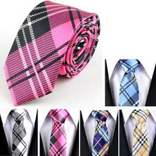 "1pc New Casual Mens Necktie Tie Skinny Narrow Slim 2"" Plaid Stripe Patterns DJNG"