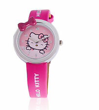 Women Girl Kids child BOW Cute PINK Hello Kitty Wrist Watch Birthday Gift her