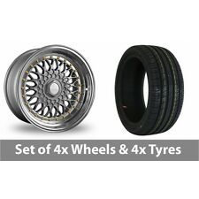 """4 x 17"""" Dare DR-RS Silver Gold Rivets Alloy Wheel Rims and Tyres -  215/45/17"""