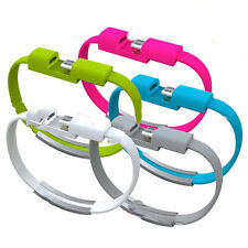Mini Flat Bracelet USB Syna Data Charger Cable Cord Wristband For Android iPhone