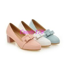 Sweet Womens High Heels Dress Wedding Bowtie Bowknot Slip On Casual Pumps Shoes