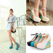 Womens Mary Jane Ankle Strap Platform Wedge High Heel  Pumps Shoes