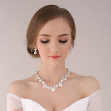 Rhinestone Crystal Necklace Earring Silver Plated Jewelry Set For Wedding Bridal
