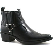 MENS US BRASS BLACK ANKLE HARNESS BOOTS SIZE UK6 – 12 EASTWOOD M183A KD