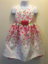 Bonnie Jean Girls Pink White Floral Shantung Easter Dress 2T 3T 4T