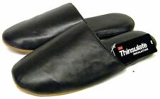 Mens M&S Black Real Leather Thinsulate Indoor Slippers Mules 6,7,8,9,10,11,12