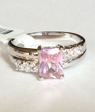 Silver Rhodium Plated Cocktail Ring Pink Cubic Zirconia Princess Cut Size 9 10