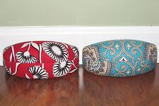 Vera Bradley DECO DAISY or TOTALLY TURQ Hard XL Clamshell Eyeglass SUNGLASS CASE