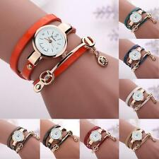 Casual Women Girl Bracelet Watch Leather Strap Alloy Case Round Wristwatches