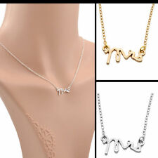 MRS Letter Pendant Necklace Gold Silver Charm Necklace Wedding Mothers Day Gift