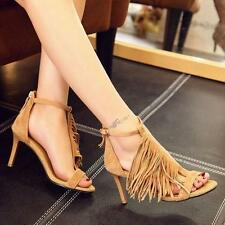 Fashion Womens Open Toe Suede High Heels Tassel Pump Party Stiletto Shoes New