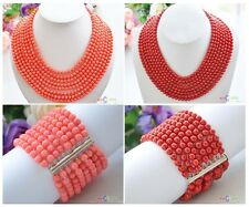 D0146 Real 8row 6MM round coral bead necklace & Bracelet