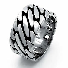 11MM Mens Boys Elegant Weave 316L  Stainless Steel Band Ring Jewelry girf