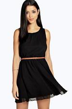 Boohoo Womens Frankie Sleeveless Chiffon Belted Skater Dress