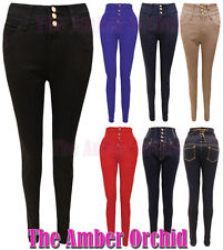 New High Waisted Slim fit Skinny Jeans Women Trousers Sizes 8-16