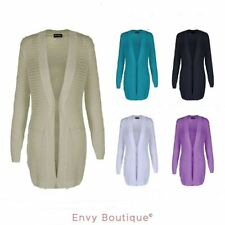 LADIES NEW WOMENS LONG SLEEVE KNITTED COTTON JACKET OPEN CARDIGAN PLUS SIZES
