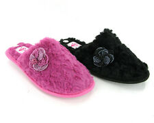 New Womens Dunlop Luxury Cosy Slip On Mules Black Pink Slippers Size 3-8