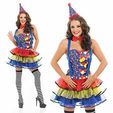 Ladies Sexy Clown Fancy Dress Costume Circus Female Halloween Outfit UK 8-30