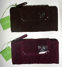 Vera Bradley LARGE TAB WALLET Quilted Microfiber#11851 Wine or Espresso RARE~NWT