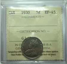 1930 Canadian Five Cent Coin ICCS Graded EF-45