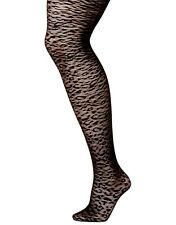 Lane Bryant Black Animal Print Control Top Footed Tights choose size A-B or C-D