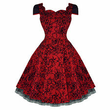 Hearts and Roses London Red Tattoo Flare 50s Vintage Party Prom Swing Dress UK