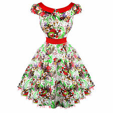 Hearts & Roses London White Floral Vintage 50s Prom Swing Flared Dress UK