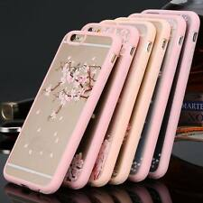 For iPhone 6 6S Plus Romantic Sakura Soft Frame Clear Hard Back Case Cover Skin