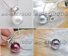 "D0194 20"" 16mm round SOUTH SEA SHELL PEARL NECKLACE PENDANT"